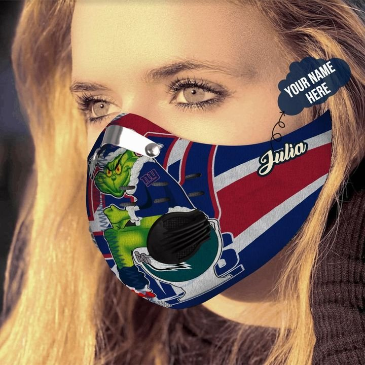Personalized the grinch new york giants filter activated carbon face mask 3