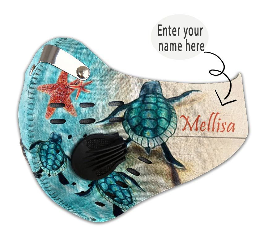 Personalized turtle back to the sea carbon pm 2,5 face mask 1