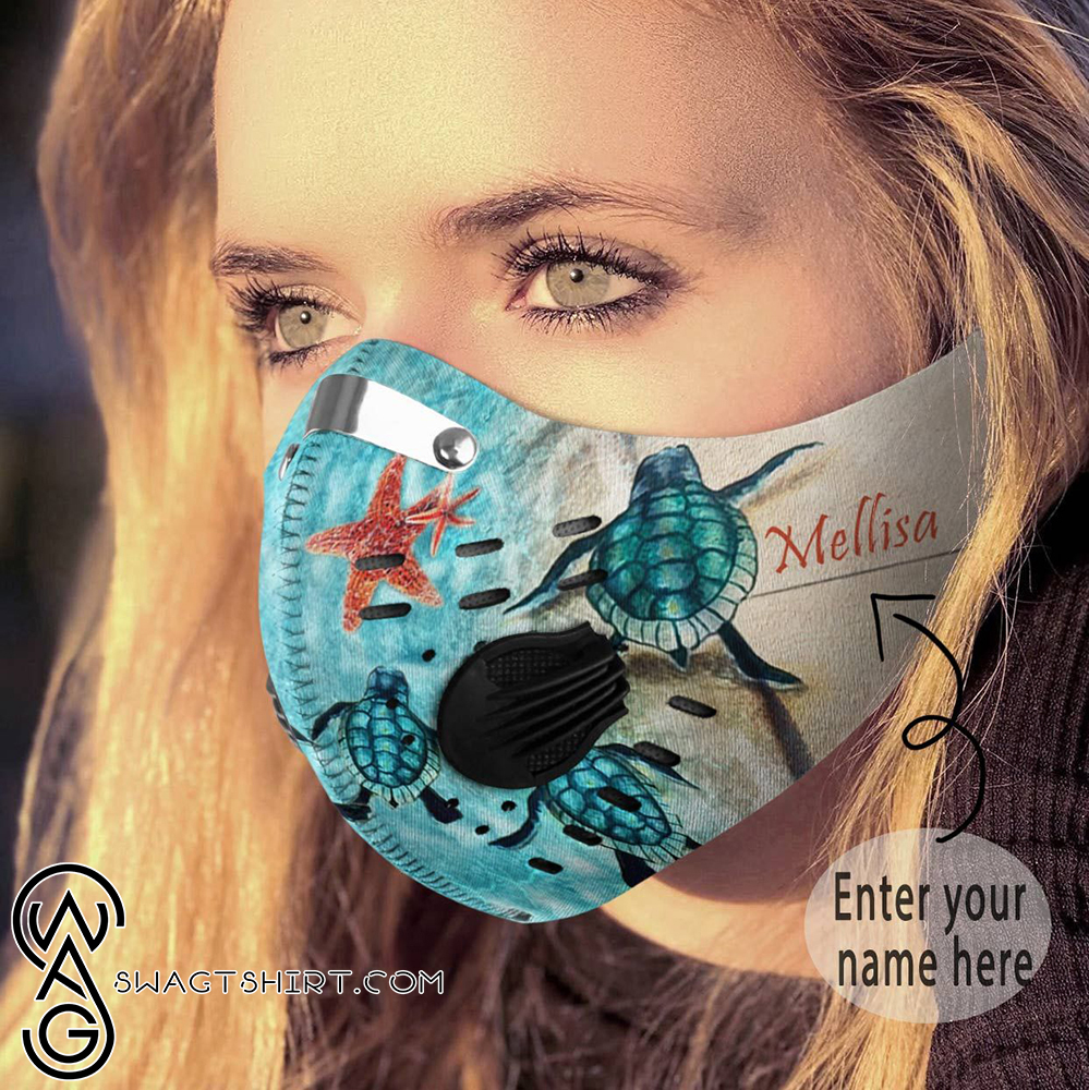 Personalized turtle back to the sea carbon pm 2,5 face mask