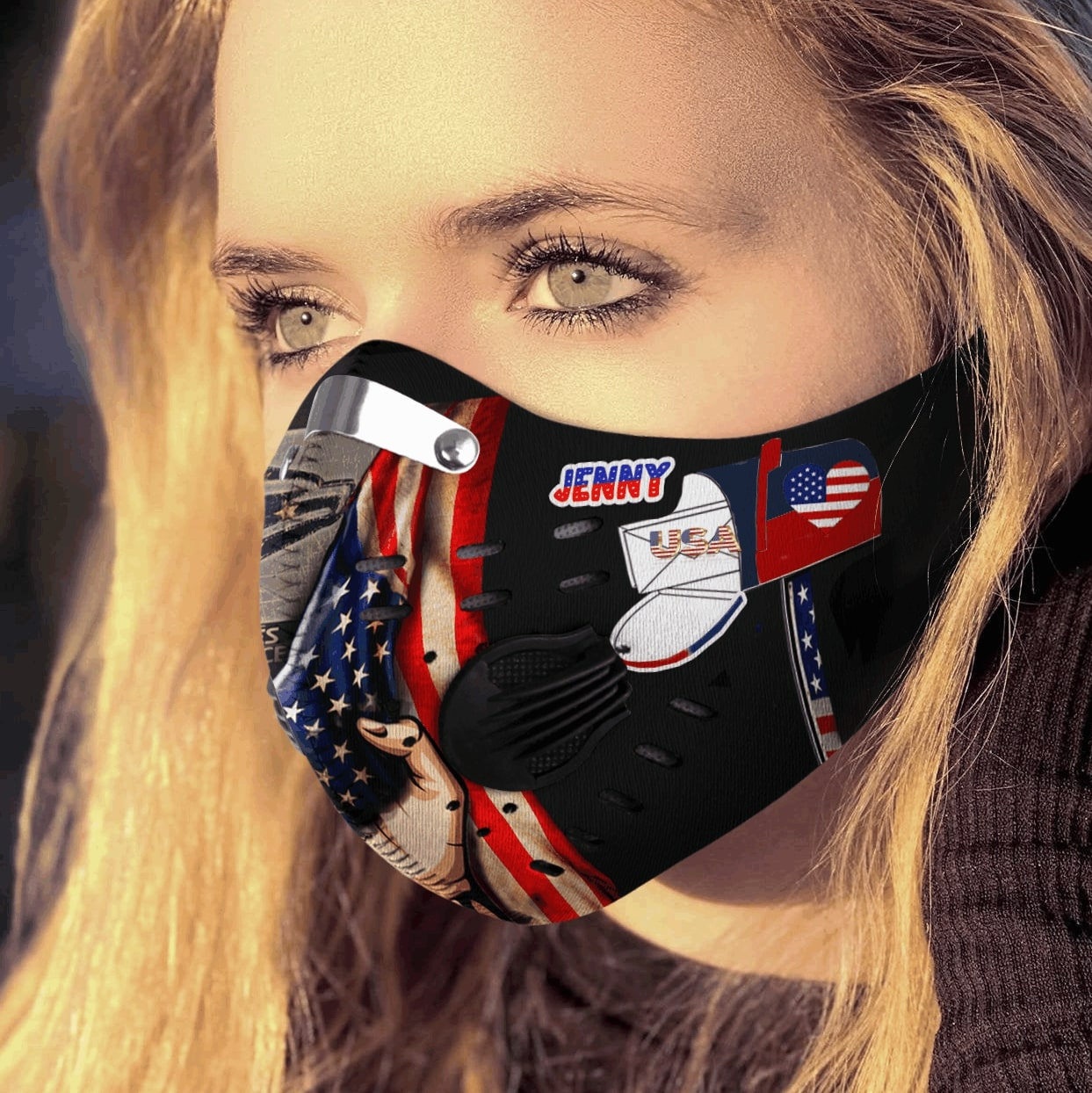 Personalized united states postal service carbon pm 2,5 face mask 2