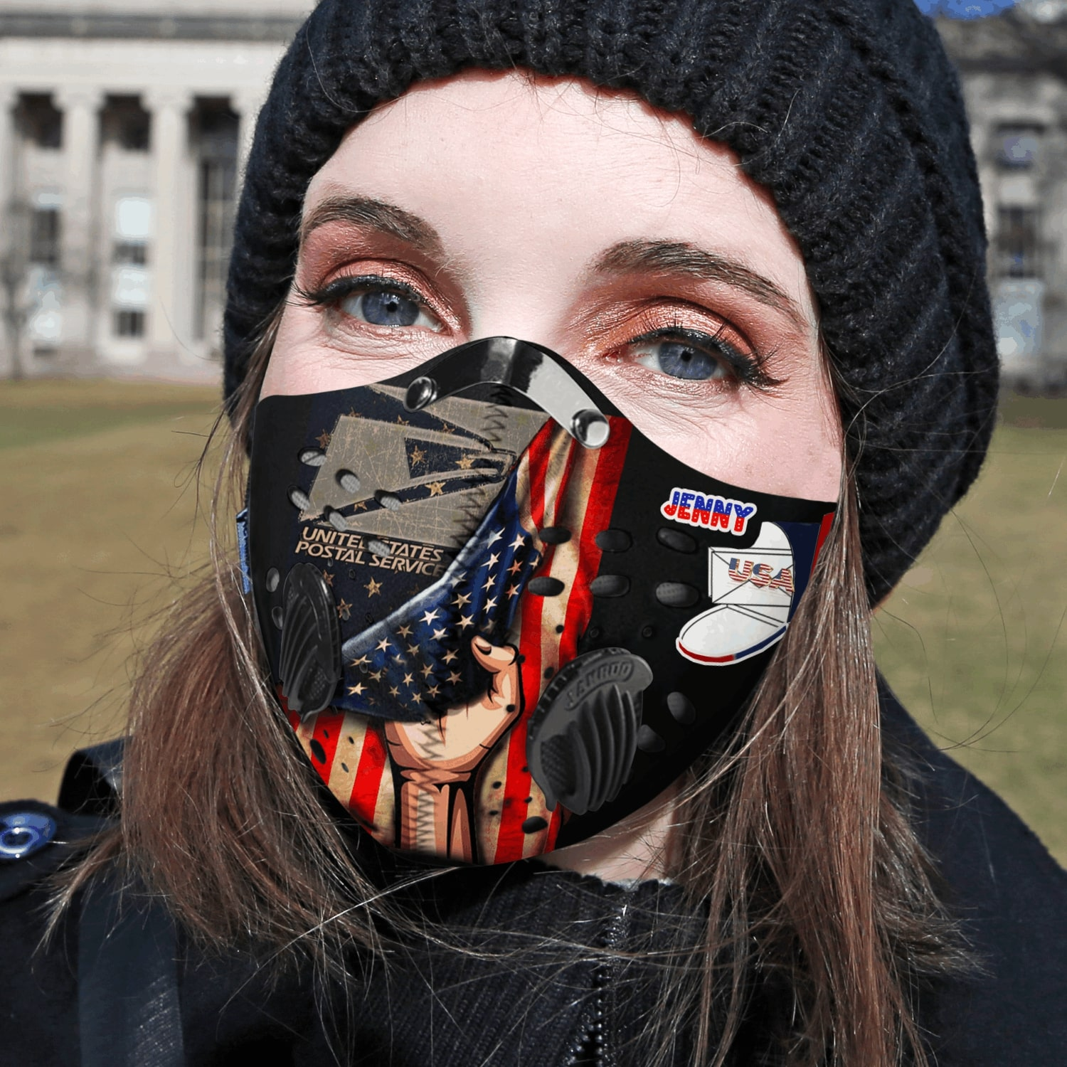 Personalized united states postal service carbon pm 2,5 face mask 4