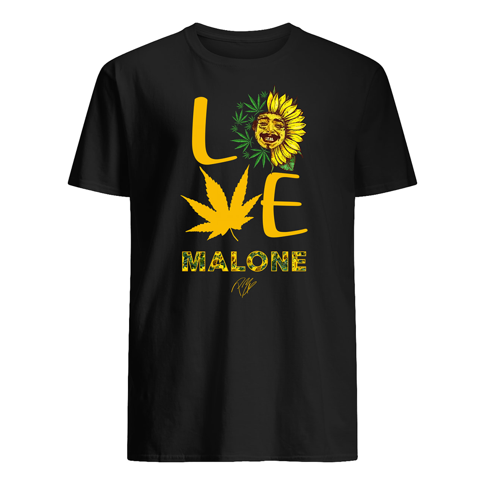 Post malone love sunflower and weed cannabis mens shirt