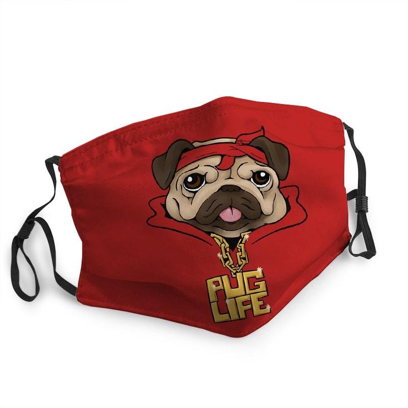 Pulldog pug life thug life anti-dust cotton face mask 1