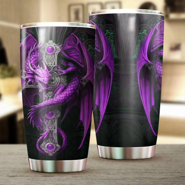 Purple dragon and dungeon viking tumbler 1