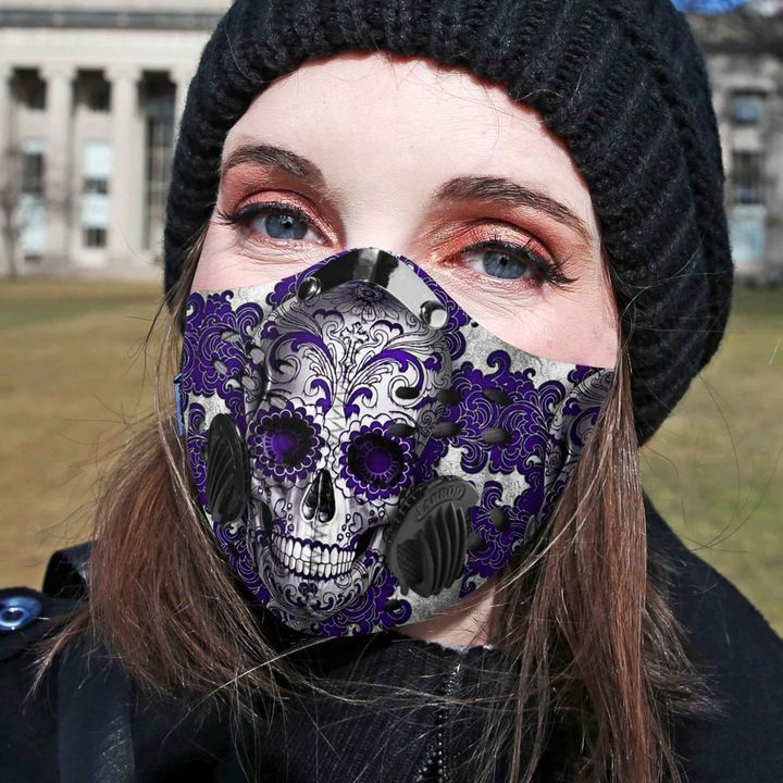 Purple sugar skull carbon pm 2,5 face mask 4