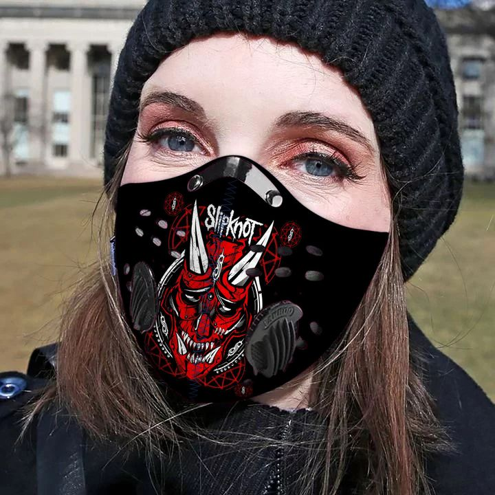 Rock band slipknot filter activated carbon pm 2,5 face mask 4