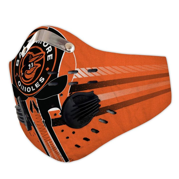 Skull baltimore orioles filter activated carbon face mask 1