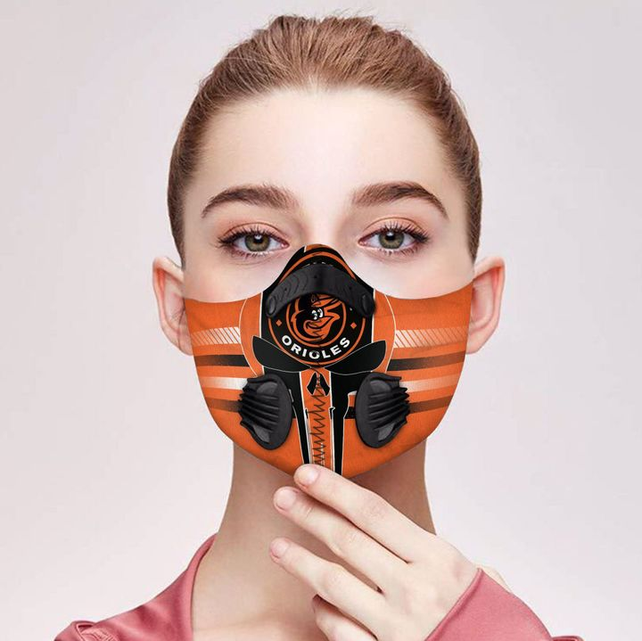 Skull baltimore orioles filter activated carbon face mask 2