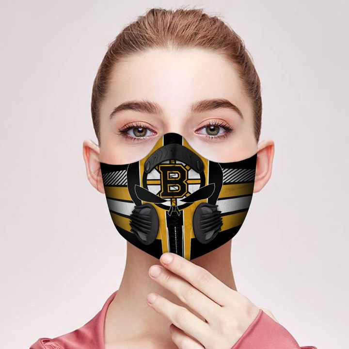 Skull boston bruins filter activated carbon face mask 2