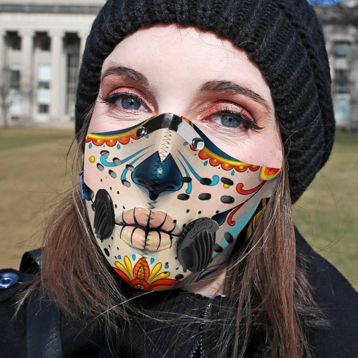 Skull face sugar skull filter activated carbon face mask 3