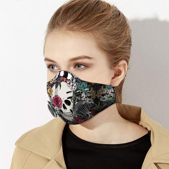 Skull flower grass carbon pm 2,5 face mask 4