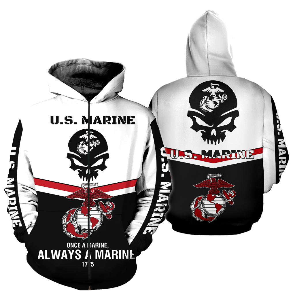 Skull once a marine always a marine full over print zip hoodie
