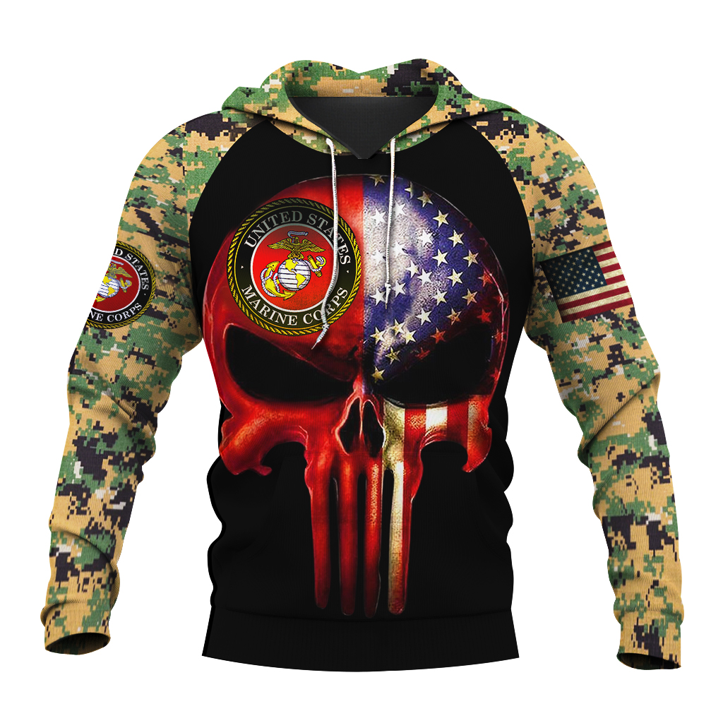 Skull us marines full over print hoodie