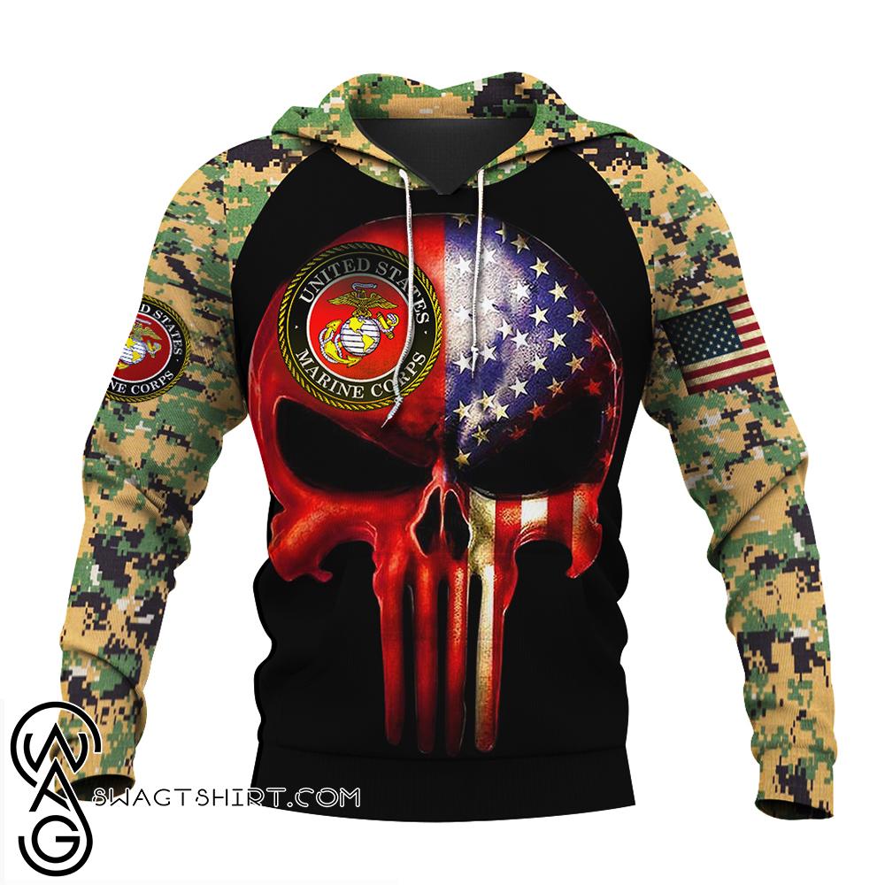 Skull us marines full over print shirt