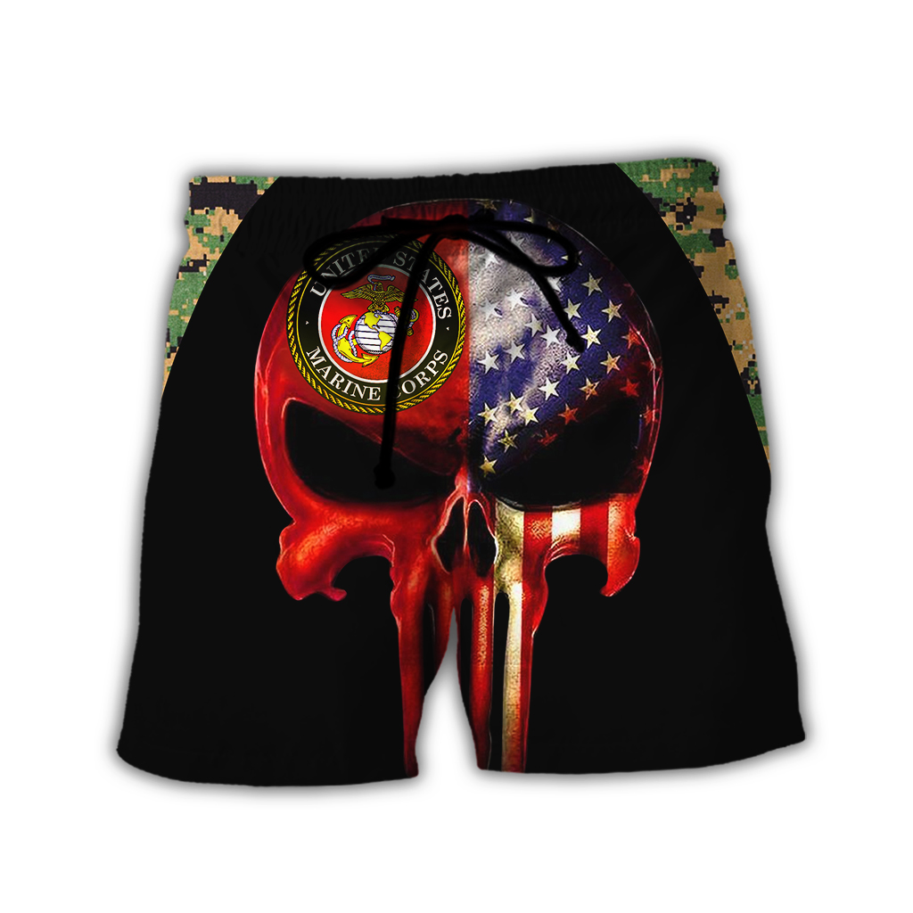 Skull us marines full over print shorts