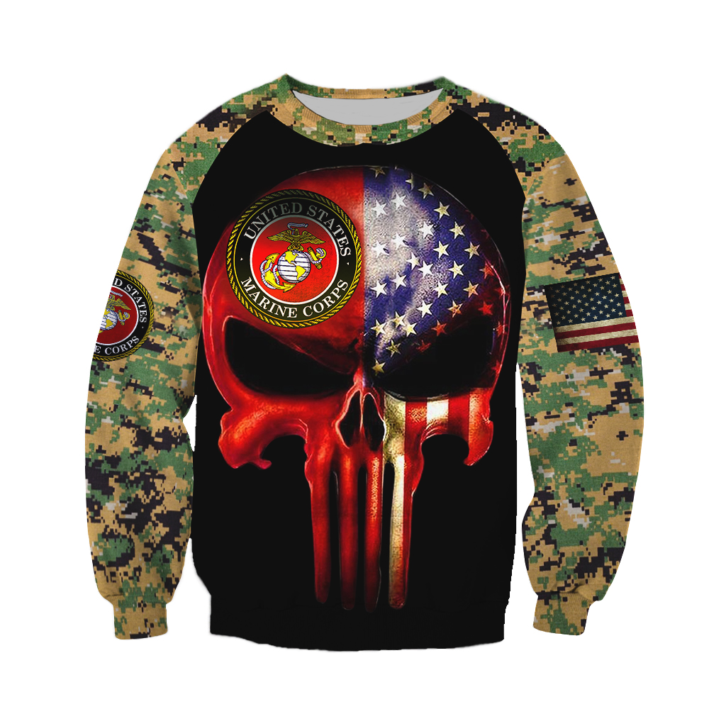 Skull us marines full over print sweatshirt