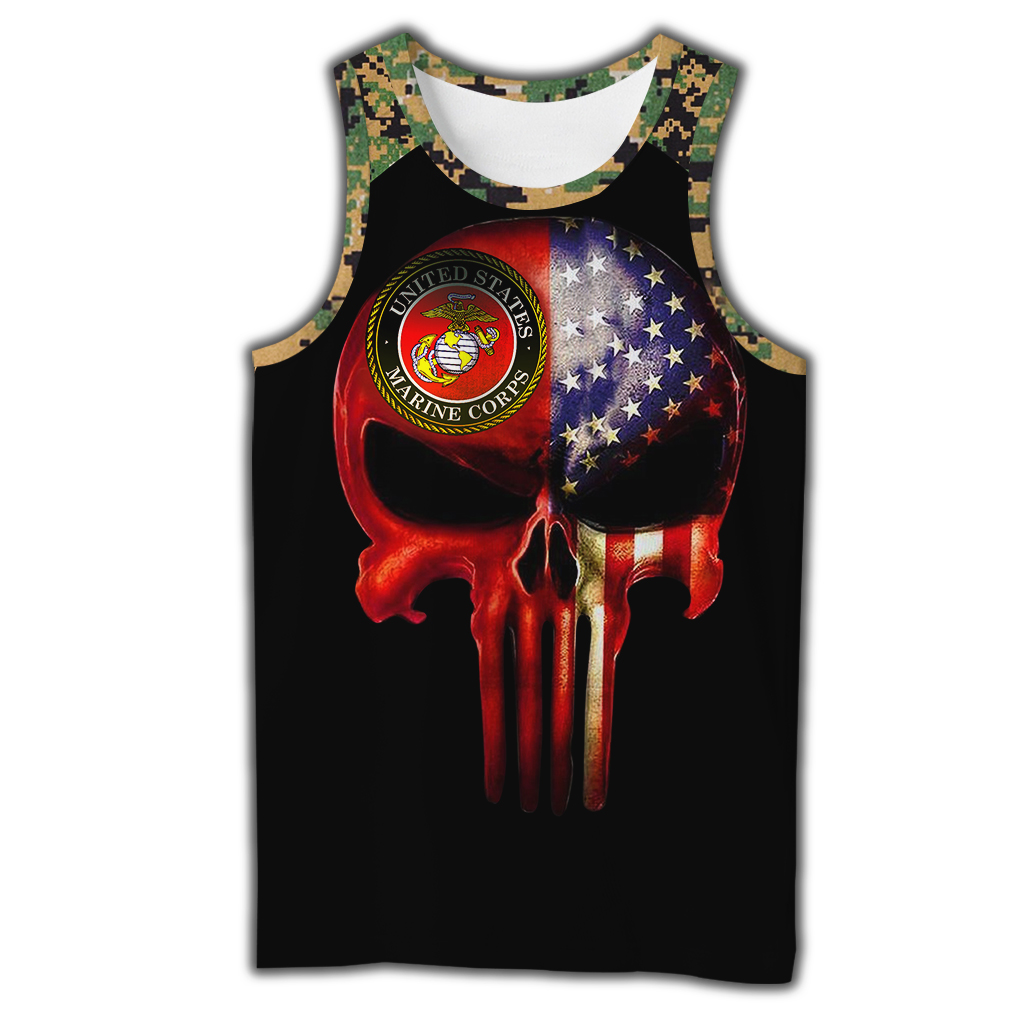 Skull us marines full over print tank top