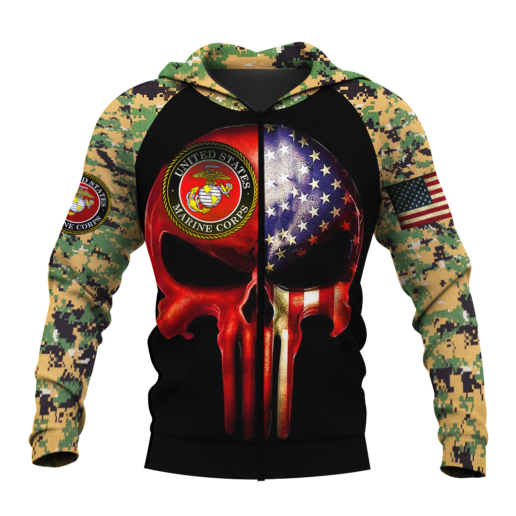 Skull us marines full over print zip hoodie