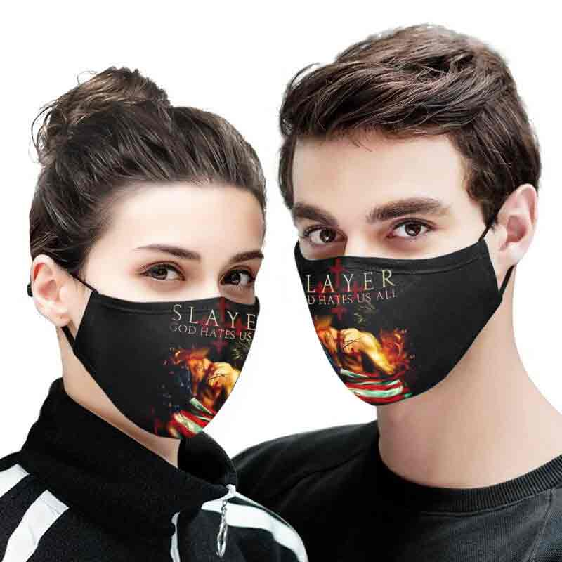 Slayer God hates us all full printing face mask 1