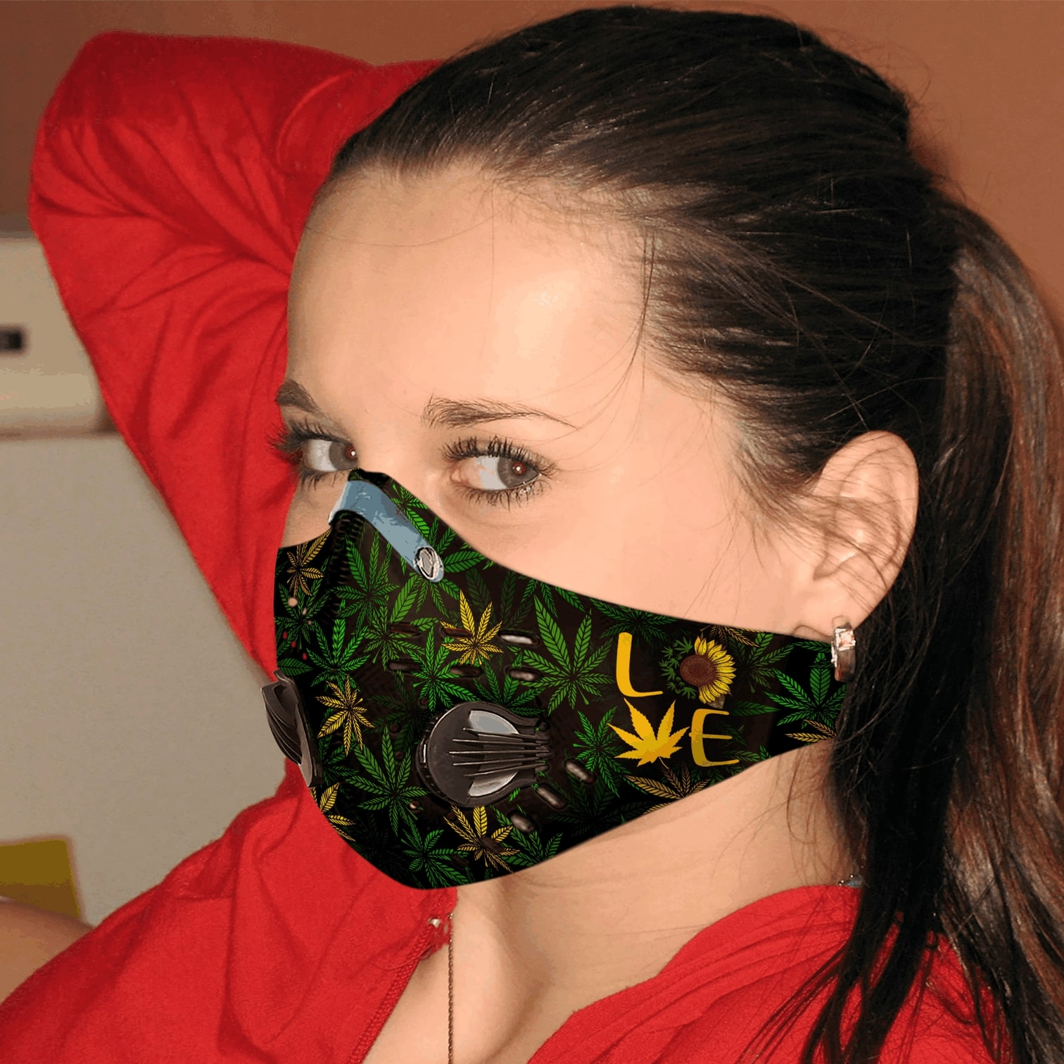 Sunflower cannabis weed leaf love carbon pm 2,5 face mask 3