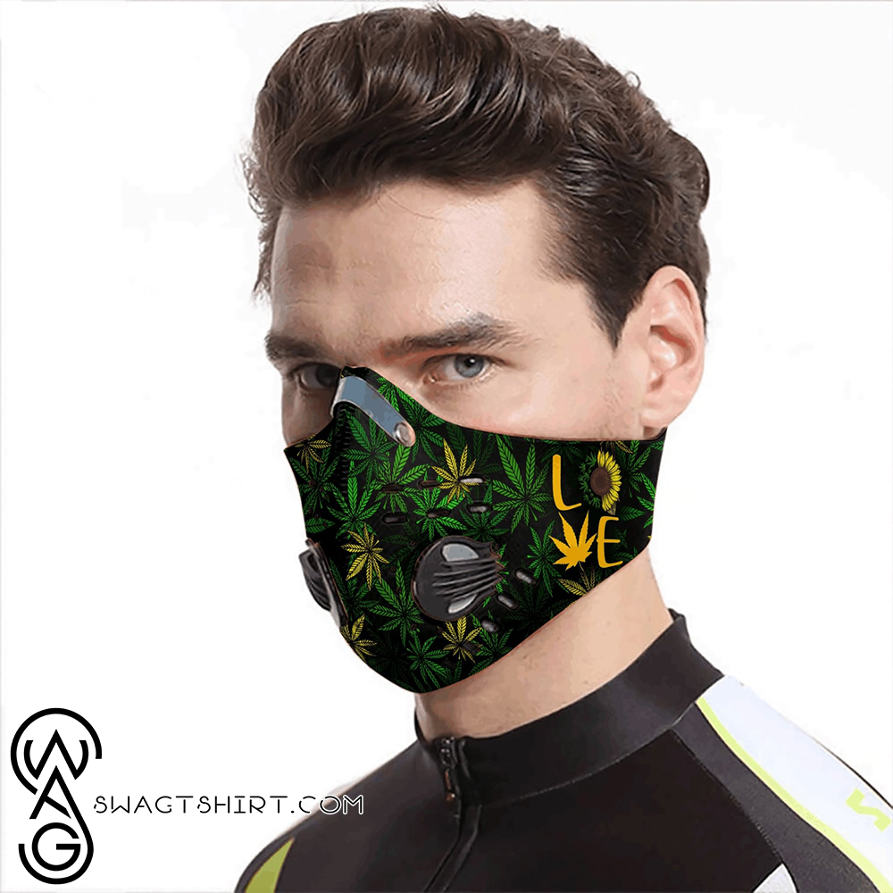 Sunflower cannabis weed leaf love carbon pm 2,5 face mask
