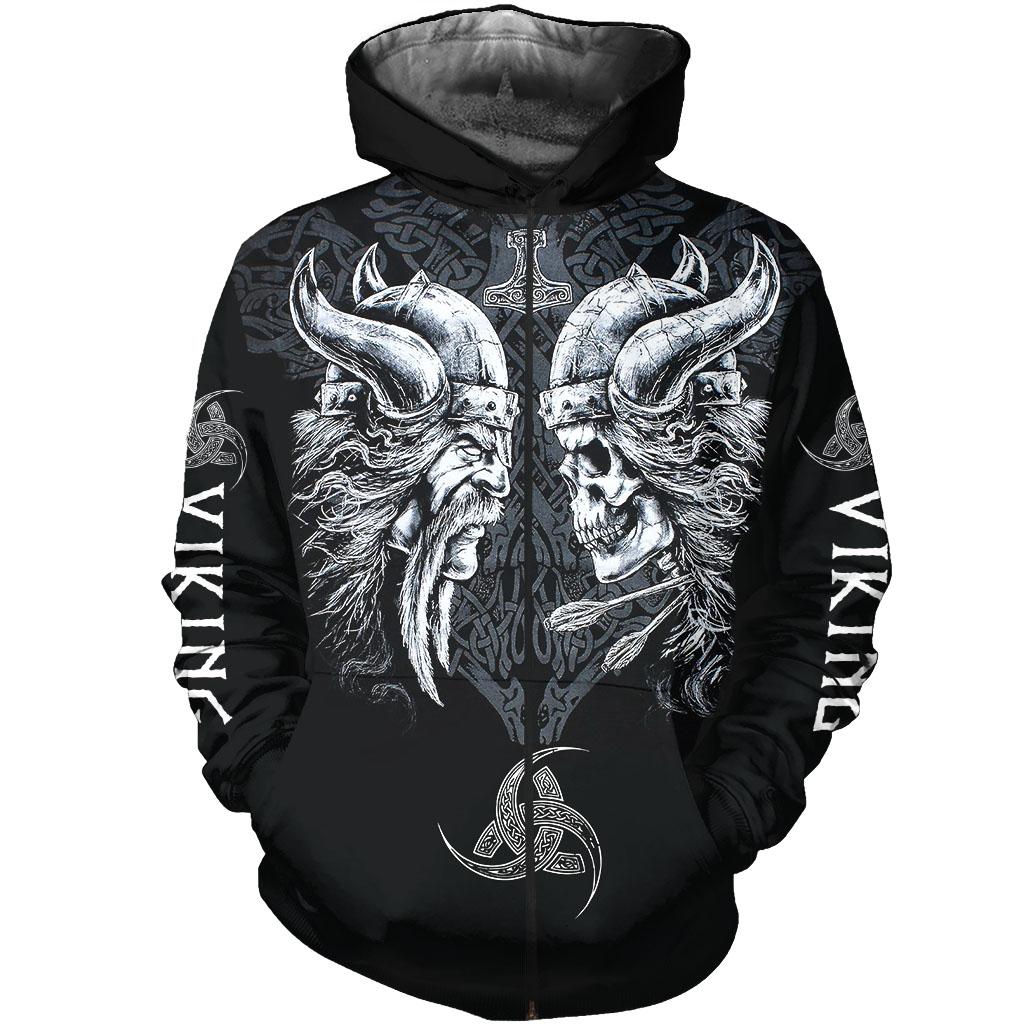 The viking skull full over print zip hoodie