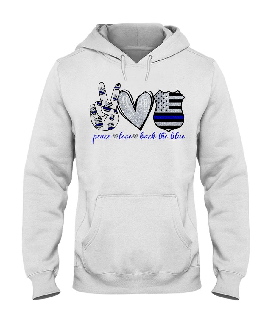USA police peace love back the blue hoodie