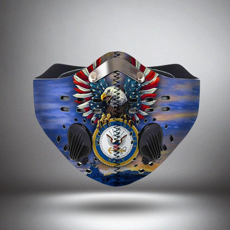 United states navy eagle logo filter activated carbon face mask 4