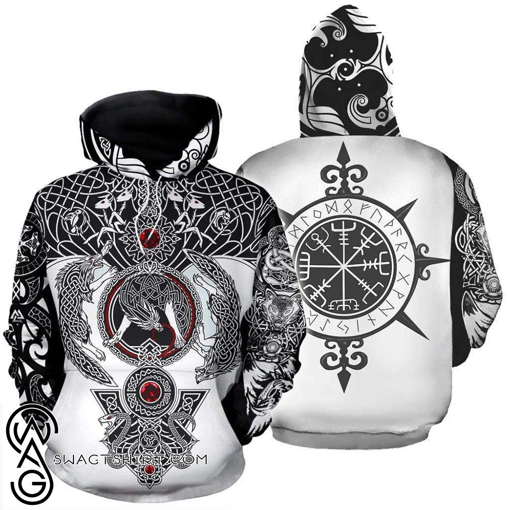 Viking fenrir tattoo full over print shirt