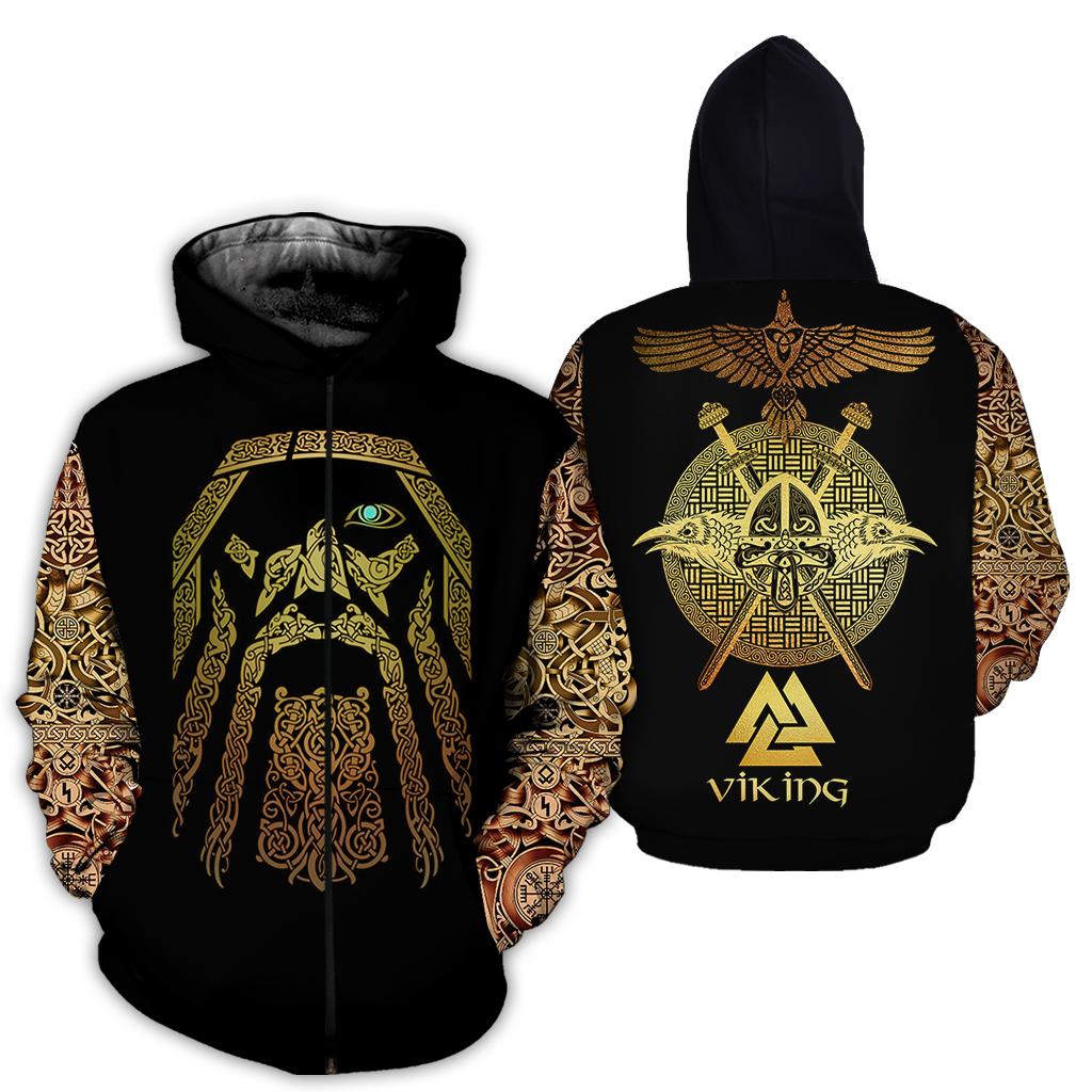Viking odin full over print zip hoodie