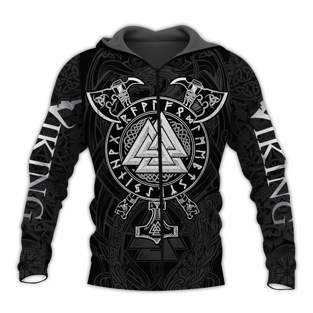 Viking valknut full over print zip hoodie
