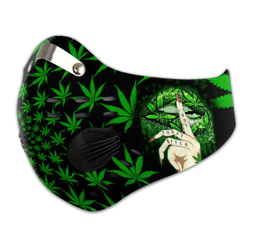 Weed lips not today bitch cannabis lips carbon pm 2,5 face mask 2
