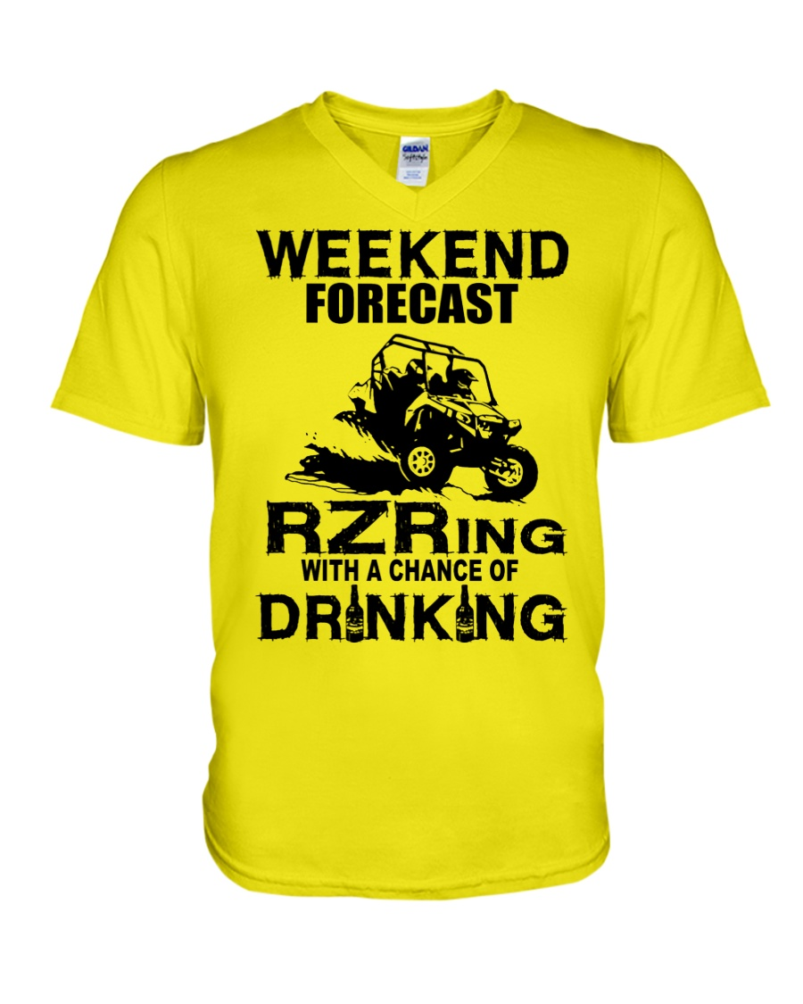Weekend forecast rzring with a chance of drinking v-neck