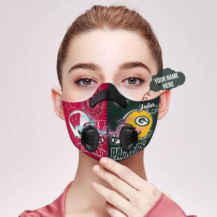 Wisconsin badgers and green bay packers filter activated carbon face mask 1
