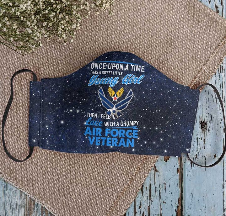 A sweet little young girl feel in love with a grumpy air force veteran face mask 2