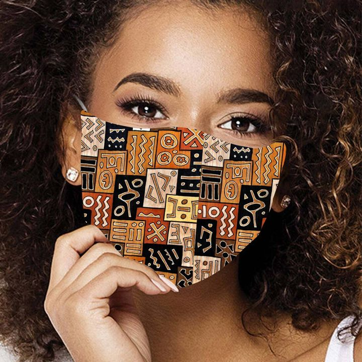 African american pattern anti-dust cotton face mask 2