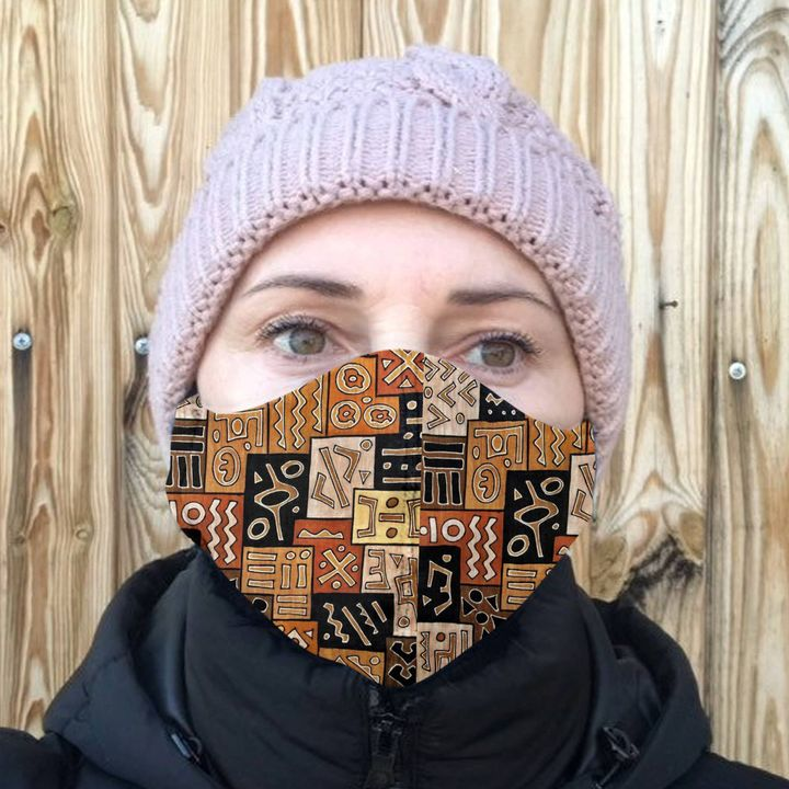 African american pattern anti-dust cotton face mask 3