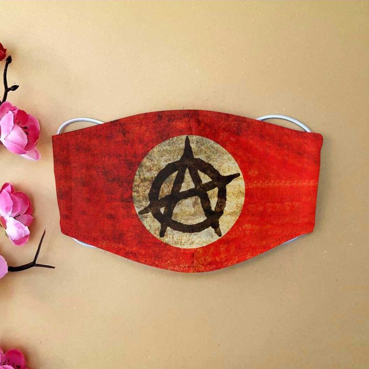 Alhambra anarchy symbol red symbol anti-dust cotton face mask 2
