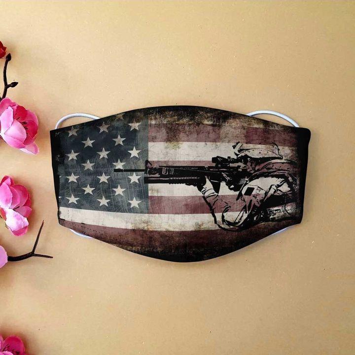 American flag army veteran anti-dust cotton face mask 2