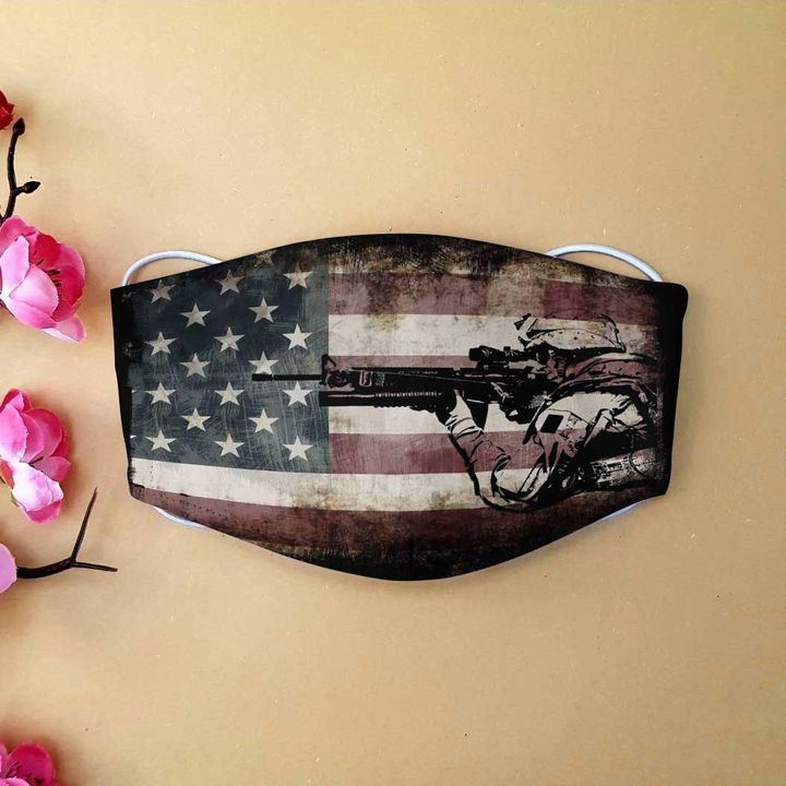American flag army veteran anti-dust cotton face mask 4