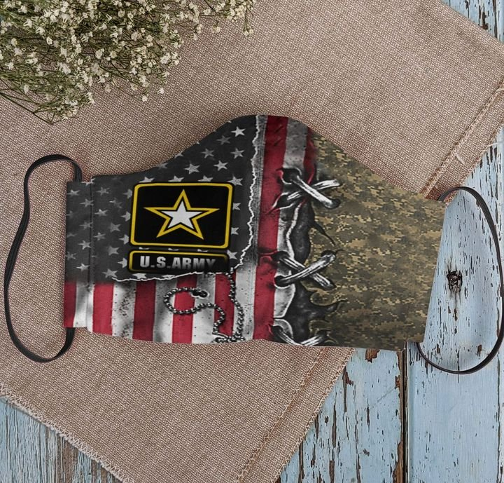 American flag army veteran camo anti-dust cotton face mask 2