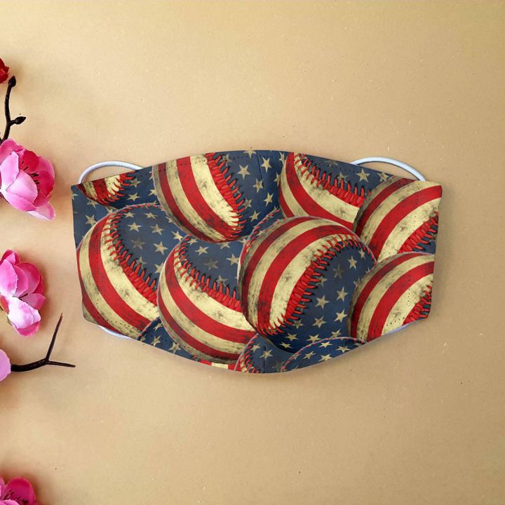 American flag baseball anti-dust cotton face mask 1