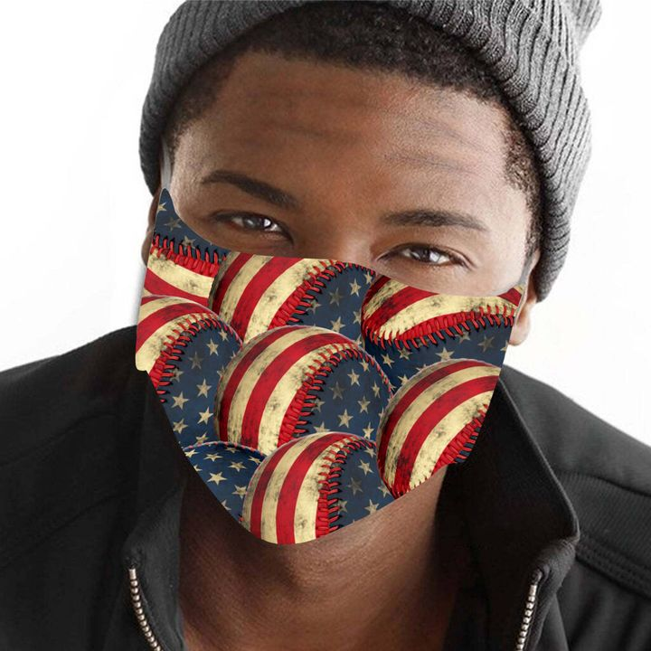 American flag baseball anti-dust cotton face mask 2