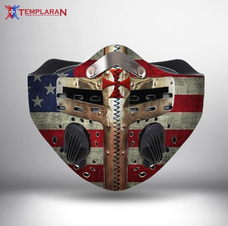 American flag cross of the knights templar filter activated carbon face mask 2