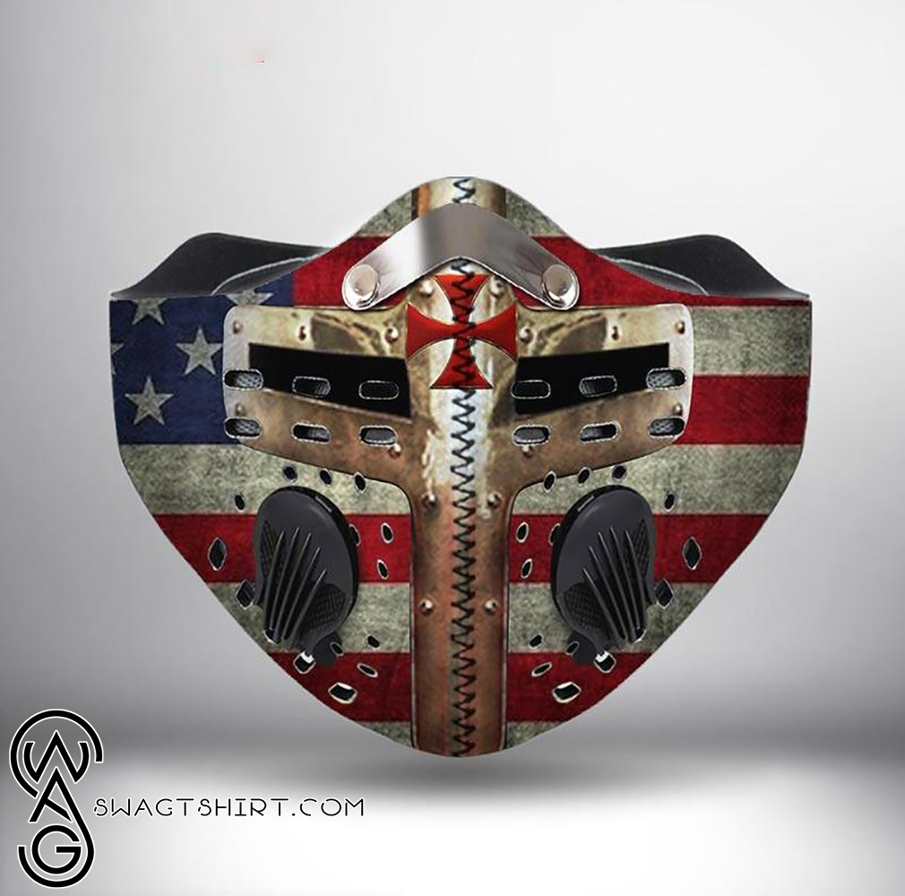 American flag cross of the knights templar filter activated carbon face mask