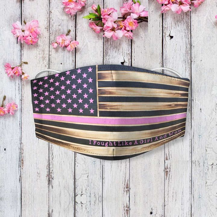 American flag fought like a girl and won breast cancer face mask 2