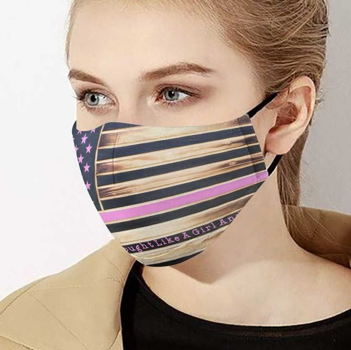 American flag fought like a girl and won breast cancer face mask 4