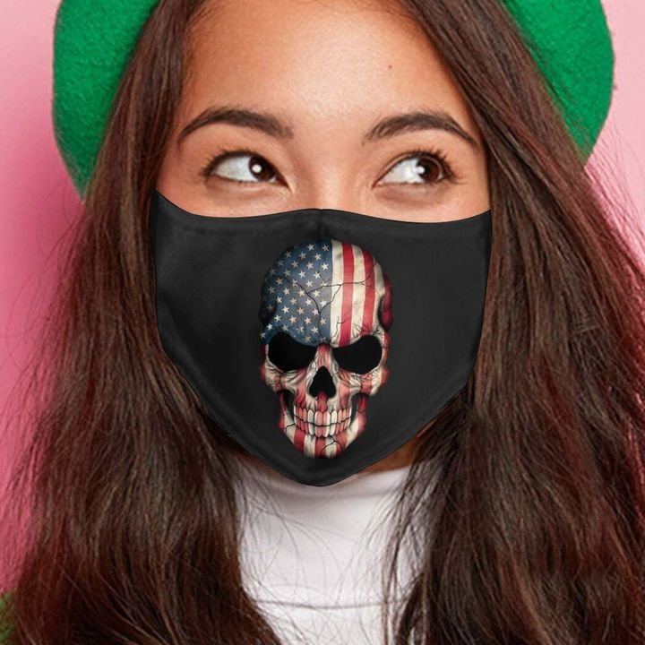 American flag skull anti-dust cotton face mask 4