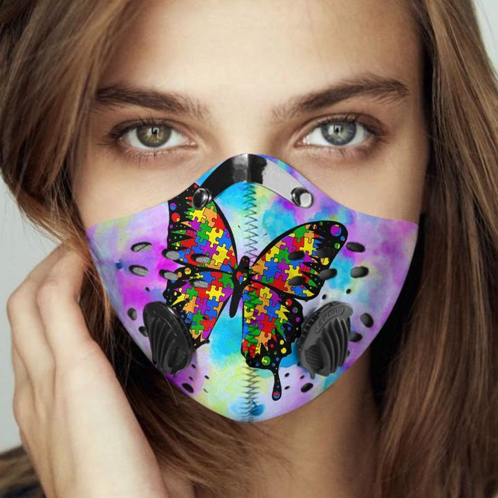 Autism awareness butterfly watercolor filter activated carbon face mask 2