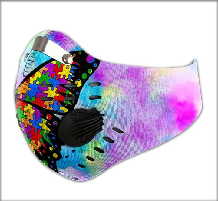 Autism awareness butterfly watercolor filter activated carbon face mask 4
